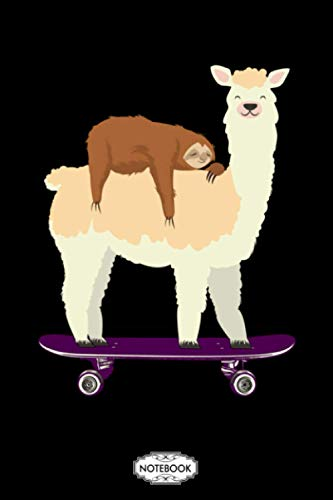 Cute Skateboarding Llama With Sleeping Sloth Skateboard Gift Notebook: Lined College Ruled Paper, Diary, Journal, Planner, Matte Finish Cover, 6x9 120 Pages