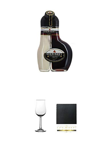 Sheridan's Coffee Irish Likör 0,5 Liter + Whisky Nosing Gläser Kelchglas Bugatti mit Eichstrich 2cl und 4cl 1 Stück + Schiefer Glasuntersetzer eckig ca. 9,5 cm Durchmesser