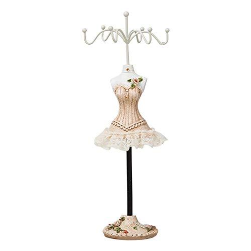 Batreetek ジュエリー収納 スタンド アクセサリースタンド 樹脂 ドレス型 ピアス 吊りネックレス チェーン 飾り物 小物 指輪 イヤリング収納 レディース ーガナイザ 25cm (#4)