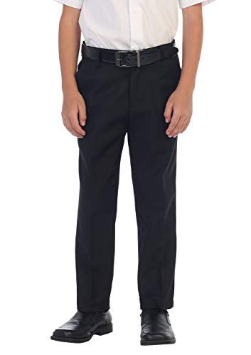 Gioberti Boys Flat Front Dress Pants, Black, 18