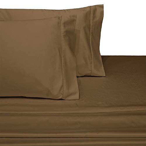 Royal Tradition Solid 300 Thread Count, 100 Percent Cotton Twin Extra Long XL 3PC Bed Sheets Set, Taupe