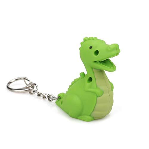 Amosfun LED Schlüsselanhänger Mini Taschenlampe Dinosaurier Figur Schlüsselbund Tasche Anhänger Geburtstagsgeschenk 2 Stück (Grün)
