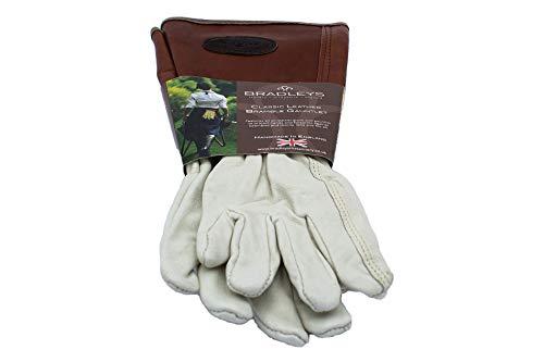 BRADLEYS Handschuhe mit Unterarmschaft, Gr. S, Glattleder braun