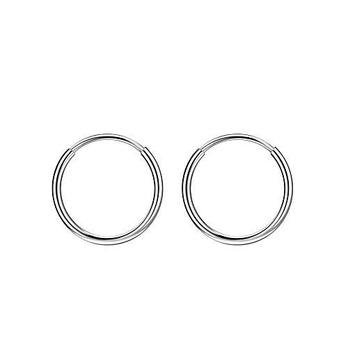 8mm Hoop Earrings Small Hoop Earrings for Women Surgical Steel Earrings Cartilage Earring Hoop Earlobe Earrings Silver Earrings Mini Earring Hoops