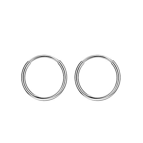 Small Hoop Earrings for Women 16G Cartilage Earring Hoop Rook Helix Daith Piercing Jewelry Earlobe Earrings for Men Small Huggie Earrings Mini 10mm Piercing Earrings Silver Nose Rings Septum Clicker