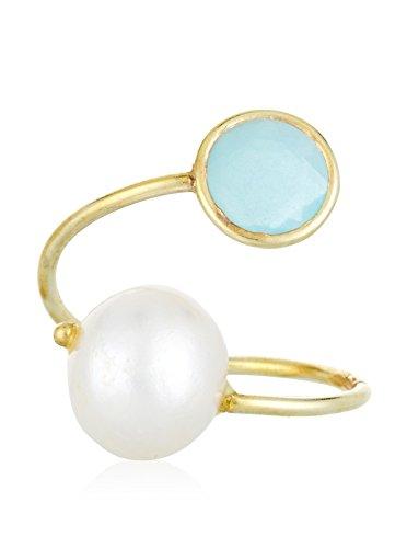 Córdoba Jewels | Anillo en Plata de Ley 925 bañada en Oro. Diseño Tú y Yo Calcedonia Perla de Cultivo Natural