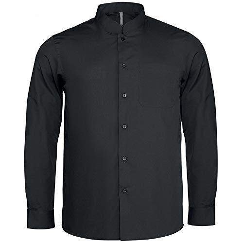 Chemise de barman à manches longues et col mandarin Bargear pour homme (M) (Noir)