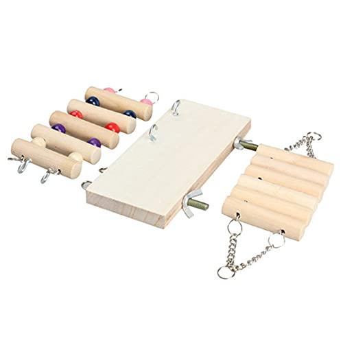 FOReverweihuajz 3 piezas para mascotas hámster conejo de madera para colgar escalera de juguete de masticar adecuado para pequeños loros como guacamayos y otras aves pequeñas