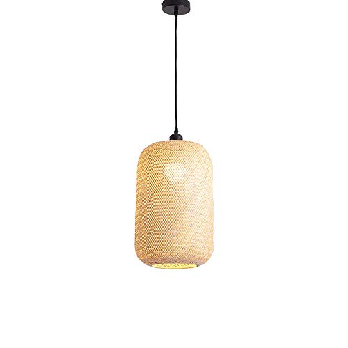 ZGZRXGY Vintage tejido de bambú de bambú de la lámpara de bambú de la lámpara de ratán simple de la linterna lámpara de mimbre creativo decoración del hotel colgante iluminación industrial estilo japo