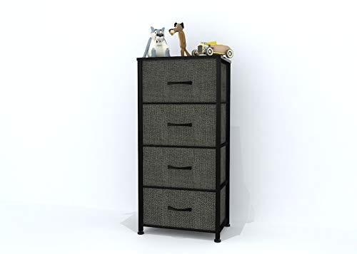 CHIFONG Vertical 4-Drawer Fabric Dresser Storage Tower. Flash Assembly. Organizer Unit for Bedroom, Office, Nursery Room. Steel Frame, Wood Top and Easy Pull Handle Textured Print Cases - Dark Gray