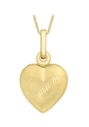 Carissima Gold Women's 9 ct Yellow Gold Heart 'MUM' Locket Pendant on Curb Chain Necklace of Length 46 cm