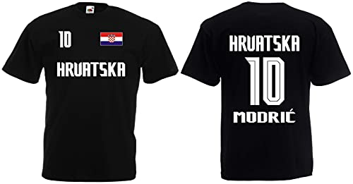 Croatia-Kroatien Modrić Herren T-Shirt EM 2020 Trikot Look Style Schwarz XXL