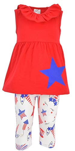 Unique Baby Girls Patriotic 4th of July Blue Star Outfit (6)