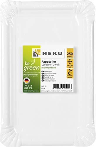 HEKU 31414: 250 Pappteller, weiß, eckig, 13x20cm, 100% Frischfaser ohne Beschichtung, Pappe