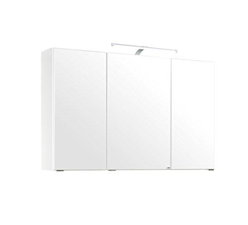 lifestyle4living Bad Spiegelschrank in Weiß, 3 Türen, LED-Beleuchtung, Steckdose | Badezimmerschrank mit Spiegel 100 cm breit, 64 cm hoch, 20 cm tief