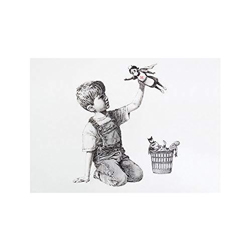 Banksy Enfermera Homenaje Poster Vintage Pared Arte Dibujo Arte Impresiones Negro Blanco...