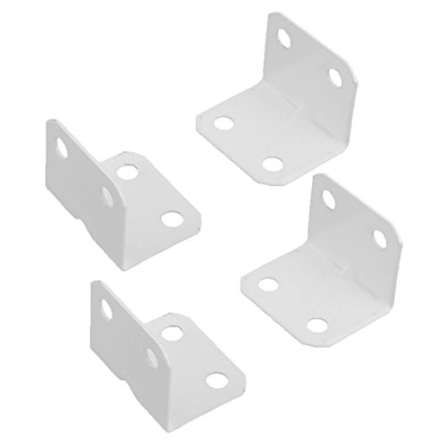 uxcell Home Furniture Carbon Steel L Shape Corner Brace Plate 90 Degree Right Angle Bracket White 4pcs