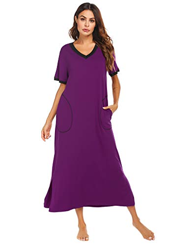 Ekouaer Women's Plus Size Long Robe Nightgown Lounge Dress