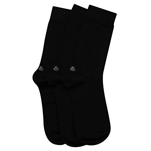 Bonjour Odour free plain Socks for Men with brand logo Pack of 3 Pairs_BRO201D-PO3