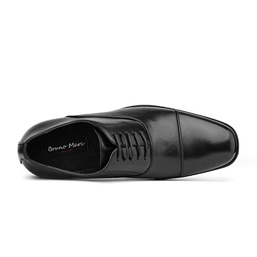 Bruno MARC DP06 Men's Formal Modern Leather Wing Tip Loafers Lace Up Classic Lined Oxford Dress Shoes BLACK SIZE 15