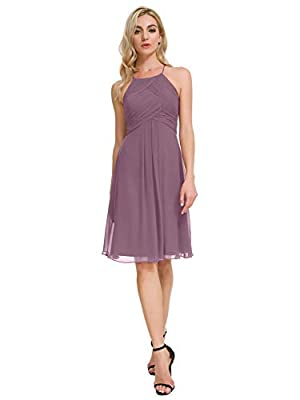 Alicepub Halter Chiffon Bridesmaid Dresses Short Homecoming Formal Party Dress for Special Occasion, Mauve Mist, US0