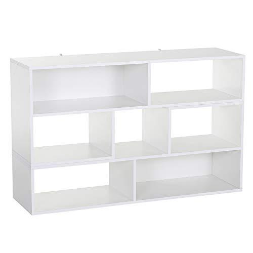 homcom Libreria Libreria Porta TV Versatile di 2 Moduli a L MDF Grado E1 120-165L cm x 35P cm x 50A cm Bianco