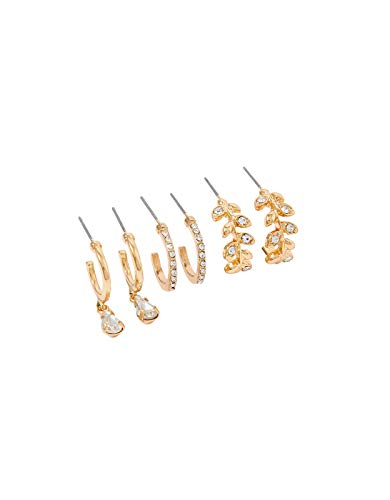 Accessorize Sparkle Leaf Hoop Earring Set