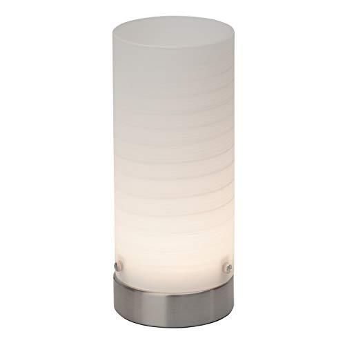 Brilliant G92968/05 Daisy Lampe à Poser LED, Métal, Intégré, 3 W, Acier/Verre Blanc