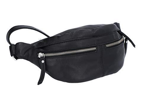 Gusti Bauchtasche Damen Leder - Acton Gürteltasche Brustbeutel Hüfttasche Cross Body Bag Reißverschluss Damen Herren Schwarz