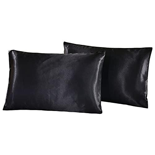 Paquete de 2 fundas de almohada de satén, juego de fundas de almohada de tacto sedoso Funda de almohada ultra suave Cuidado facial antiarrugas para la piel y el cabello con cierre de sobre