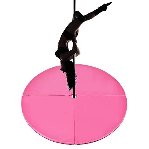 GOPLUS Vierfach Stangentanz Schutzmatte, Sicherheitsmatte Faltbar, Pole Dance Craschmatte, aus PVC und Perle Baumwolle, Farbwahl, Durchmesser 150cm (Rosa)
