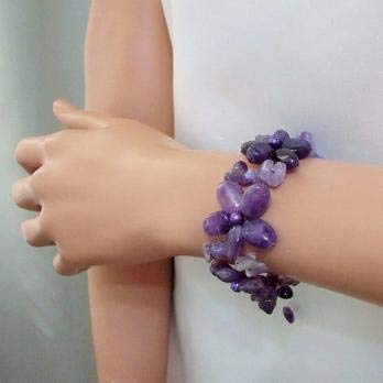 xingxing New Classic Luck Pearl Jewelry Purple Amethysts And Real Pearl Flower Garland Bracelet Handmade Fashion Women Jewelry (Length : 17cm, Metal Color : Bracelet)