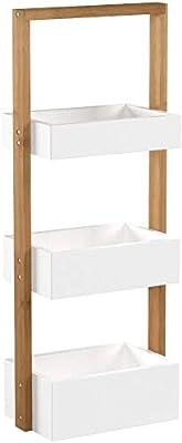 Relaxdays Étagère de salle de bain rangement serviteur de douche avec 3 paniers bois HxlxP: 76 x 30 x 18,5 cm, blanc/nature