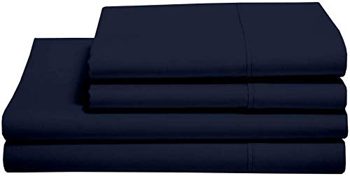 5 Star Experience 100% Egyptian Cotton, Navy Blue Solid Bed Sheet Set, 400 Thread Count with Amazing Softness Euro Double Ikea Size with 38cm Deep Pocket Fitted Sheet.