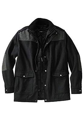 KingSize Men's Big & Tall Wool Combat Jacket - Big - 6XL, Heather Charcoal by KingSize