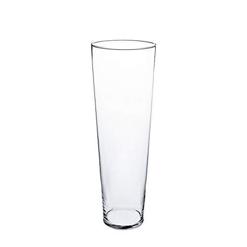 INNA-Glas Konische Glas Vase Conny, transparent, 70cm, Ø 19cm - Bodenvase - hohe Vase