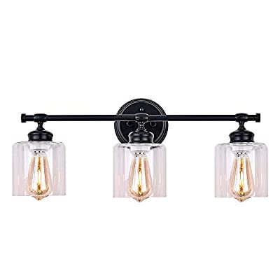 XILICON Bathroom Vanity Light Fixtures 3 Lights Black Sconces Wall Lighting Glass Shades Rustic Industrial Vintage Farmhouse for Bedrooms Living Room Kitchen Island