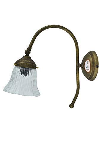 fd-bolletta arredamento e illuminazione apliques de pared rusticos, aplique vintage interior con campana de cristal a37 Medidas: Protrusión de la lámpara 23cm, Ø vidrio 12cm, Ø base 10cm