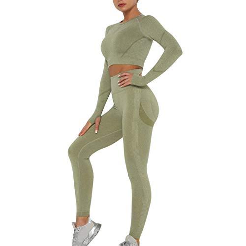 OEAK Damen Sportanzüge Jogginganzug Sport Sets Hosen und Sport Crop Top 2 Stücke Bekleidungssets Yoga Outfit Freizeitanzug Sportswear