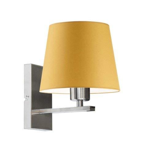 Lámpara de pared HVAR con pantalla de color amarillo mostaza, marco de acero cepillado