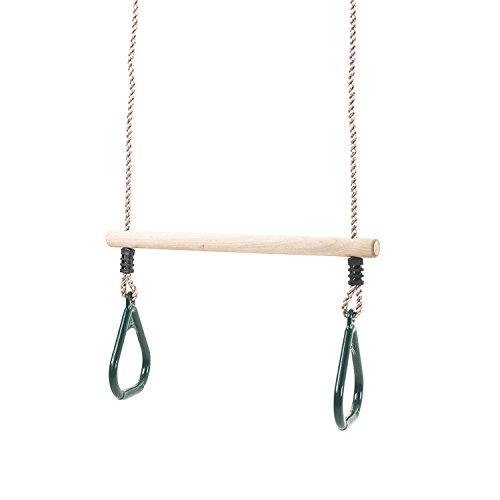 Trapets bar gunga med gröna ringar för klättringsramar och trädgårdsgungor