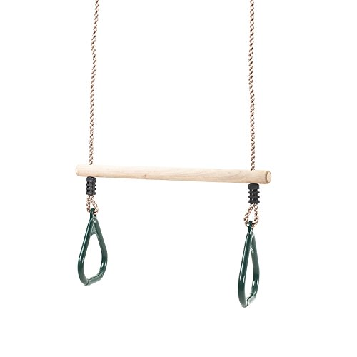 Wooden Trapeze Bar Swing with Green Rings for Climbing Frames and Garden Swings