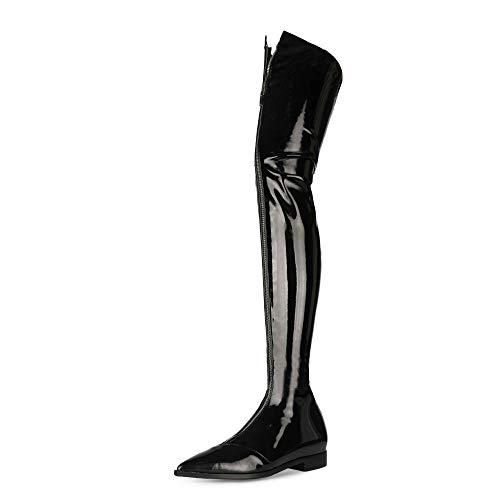 SHEMEE Damen Lack Overknee Stiefel Flach Spitz Boots mit Reißverschluss(Schwarz,43)