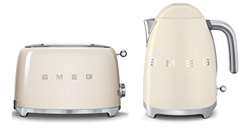 Smeg TSF01CRUK KLF01CRUK | 50er Jahre Retro Stil 2 Scheiben Toaster & Wasserkocher Set in Creme