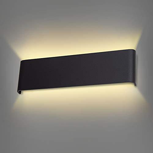 Wowatt Wandlampe Innen LED Warmweiß 2800K Wandleuchte Kinderzimmer Schwarz 12W 30cm Moderne Deko Aluminium Flach Treppenhaus Lampe Wohnzimmer Schlafzimmer Gips Wandlicht Flurlampe Wandmontage 300mm