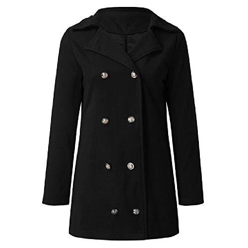 N\P Abrigo de lana para mujer de otoño e invierno con solapa de doble botonadura ligera de una sola cara casual salvaje diario