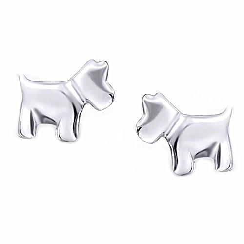 SL de Silver Pendientes Terrier perro 925plata en caja de regalo