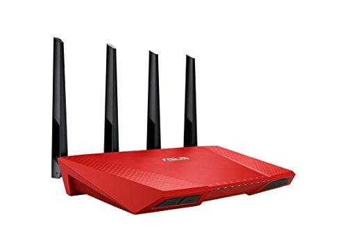 Asus RT-AC87U Gigabit Router, Wireless AC2400 Mbps, 5 Porte RJ45 Gigabit, Rosso