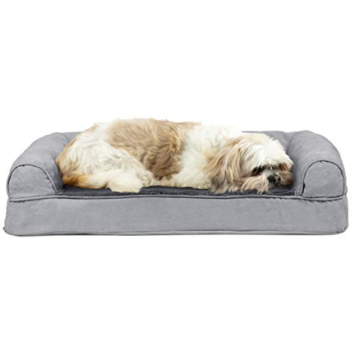 Furhaven Pet Dog Bed - Cooling Gel Memory Foam Ultra Plush Faux Fur and Suede Traditional Sofa-Style Living Room Couch Pet Bed with Removable Cover for Dogs and Cats, Gray, Medium