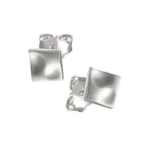 Vinani Ohrstecker Viereck mattiert Sterling Silber 925 Quadrat Ohrringe OVM